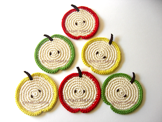Crochet Coasters Apple Slice