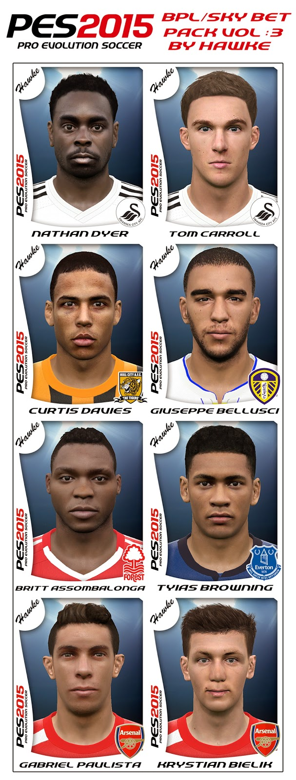PES 2015 BPL / Sky Bet FacePack Volume : 3 by Hawke