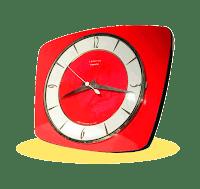 Pendule Formica rouge vintage