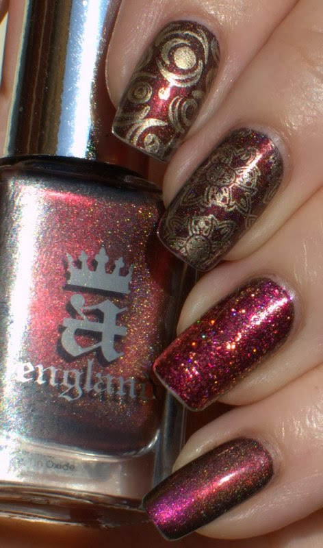 A-England Briarwood with Dance Legend Roz Gradient, China Glaze passion stamping and Ruby Wing Strawberry Shortcake glitter accent