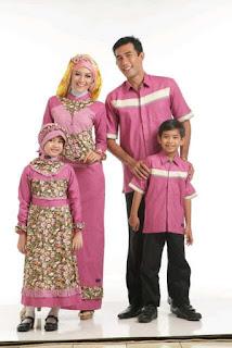 Gamis Sarimbit Batik Keluarga Pink Tua Contoh Model Baju Batik Lebaran Terbaru