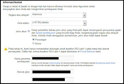 informasi pribadi untuk mendaftar google adsense