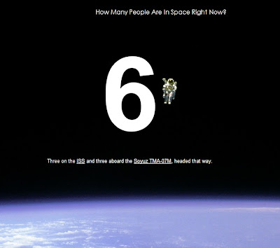Screen shot of How Many People Are In Space Right Now website