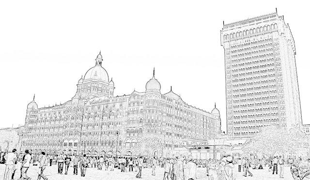sketch of the taj mahal hotel in mumbai