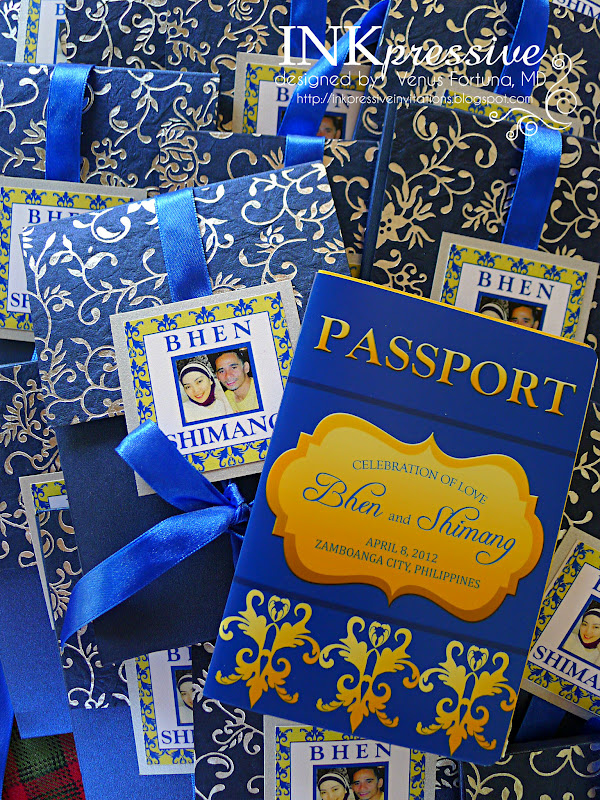 Passport Wedding Invites Blue and Yellow | INKPRESSIVE INVITATIONS