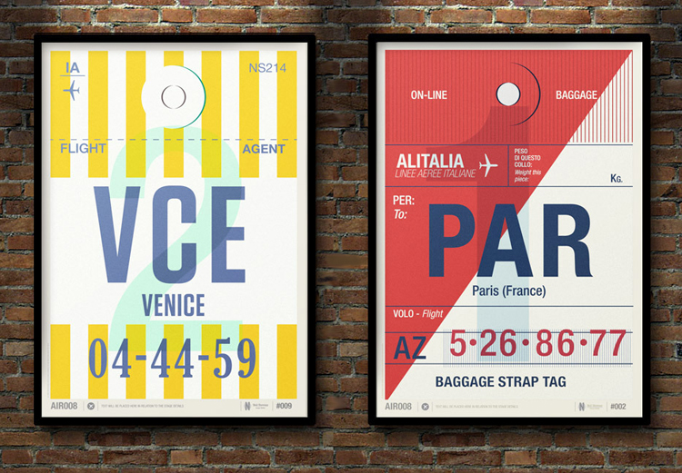 Flight Tag Prints by Neil Stevens &#8226; Venice &amp; Paris