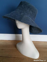 http://www.upcycleddesignlab.com/2015/08/mens-jeans-to-wide-brim-hat-with-faux-oil-cloth-finish.html