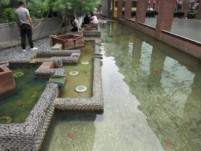 Foot bath area at Jiaoxi Hot Springs Park in Yilan