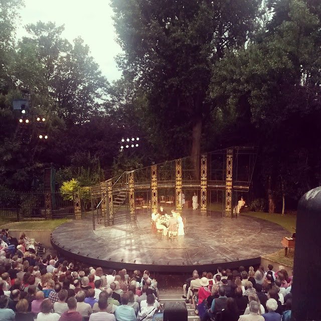 Sun beginning to set at Pride and Prejudice, Regent's Park Open Air Theatre London