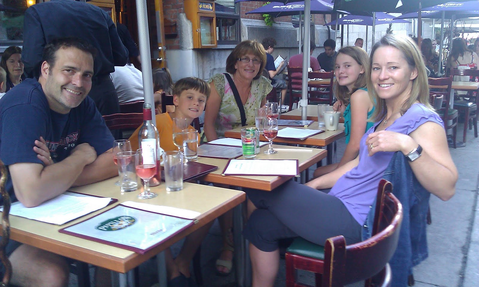 Family at an outdoor restaurant
