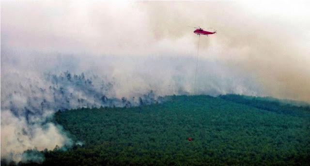 7 Heli dan 4 Pesawat Dikerahkan Padamkan Api di Sumsel