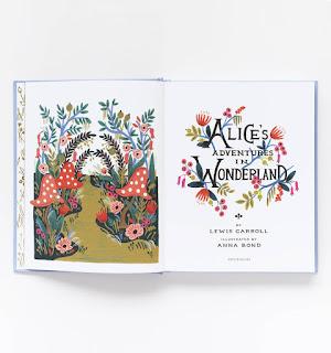 Anna Bond's inside cover illustration in Alice's Adventures in Wonderland