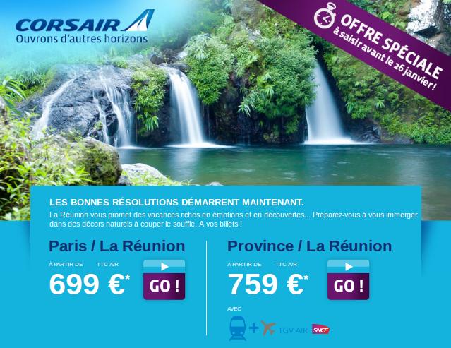 La Réunion à 699 euros. Voyage aller retour