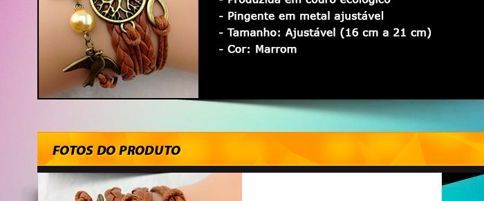 - Linda pulseira artesanal importada  - Produzida em couro ecológico  - Pingente em metal ajustável - Tamanho: Ajustável (16 cm a 21 cm) - Cor: Marrom