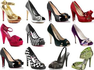 Salto alto: sapatos femininos lindos de diversas cores e estilos