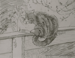 """Golden Moment"" 5 3/4"" x 7 1/4"" graphite on paper ©2015 Tina M. Welter  Pencil sketch of a orange and white cat on a white fence, autumn theme."