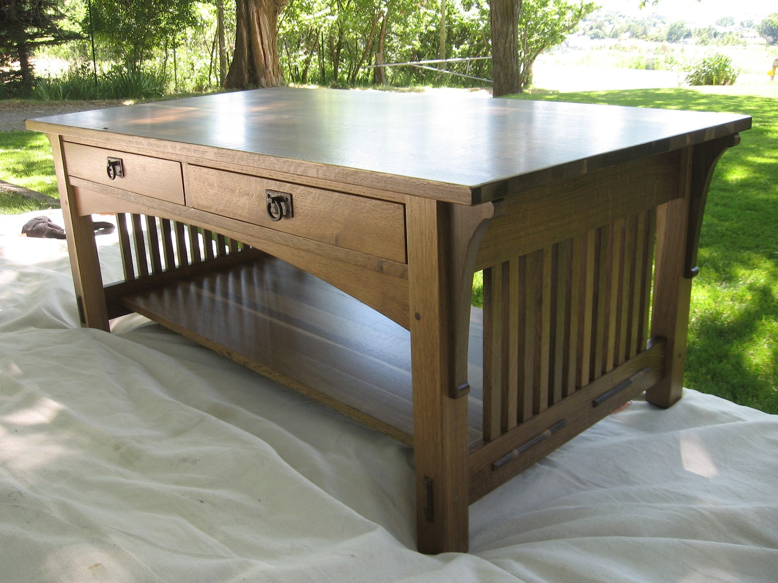 Oxford Woodworks LLC Mission Style Coffee Table with drawers