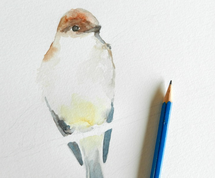 Original Watercolor Bird Painting: Elise Engh @Grow Creative