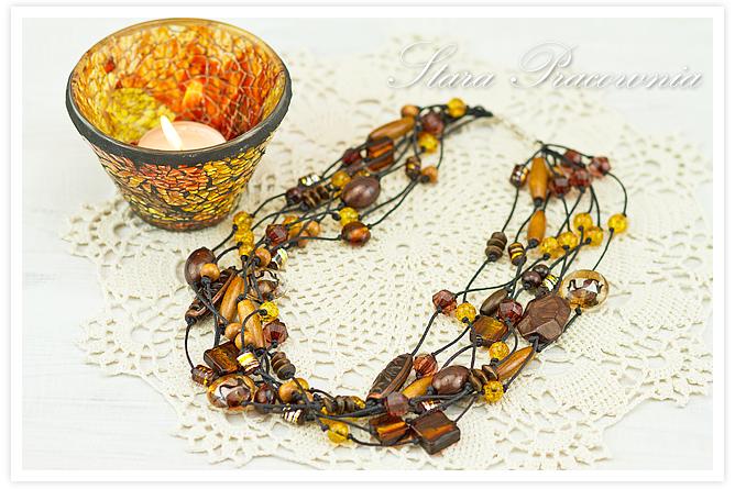 Korale,Korale ze szkłem cracke, korale ręcznie robione, biżuteria autorska, unikatowa biżuteria, hand made, rękodzieło