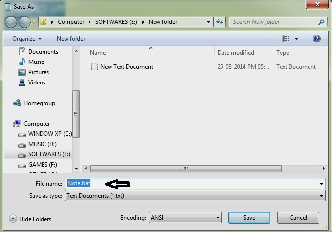 how to change notepad to bat file