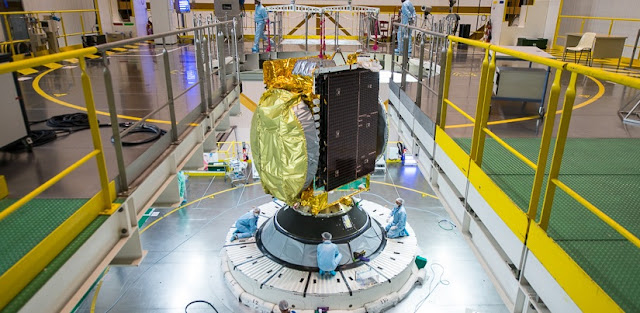 GSAT-15 is being positioned on the launch vehicle. Photo Credit: Arianespace