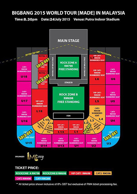 Big Bang Live Malaysia 2015 Ticket Seating