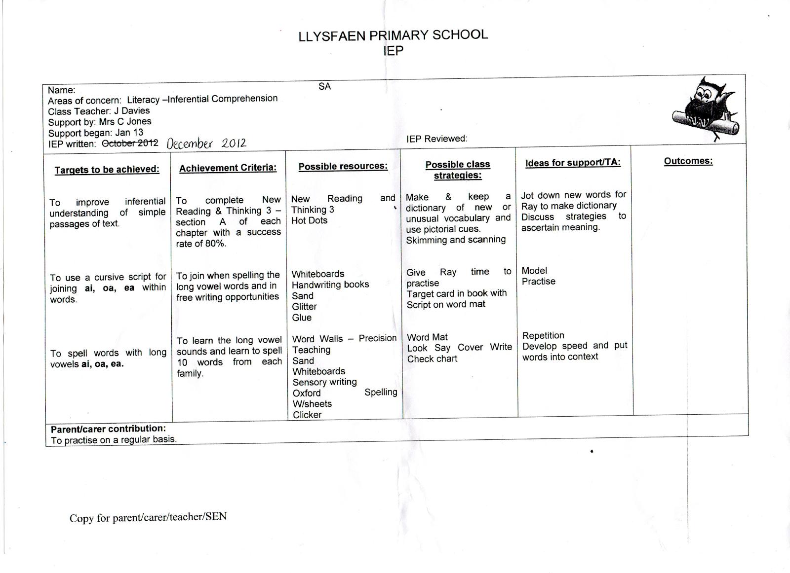 イギリスの教育制度 特別支援 教育計画表(IEP)