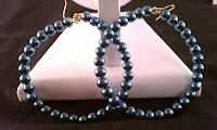 beautiful blue glass pearl large hoop earrings blue pearls with gold hooks