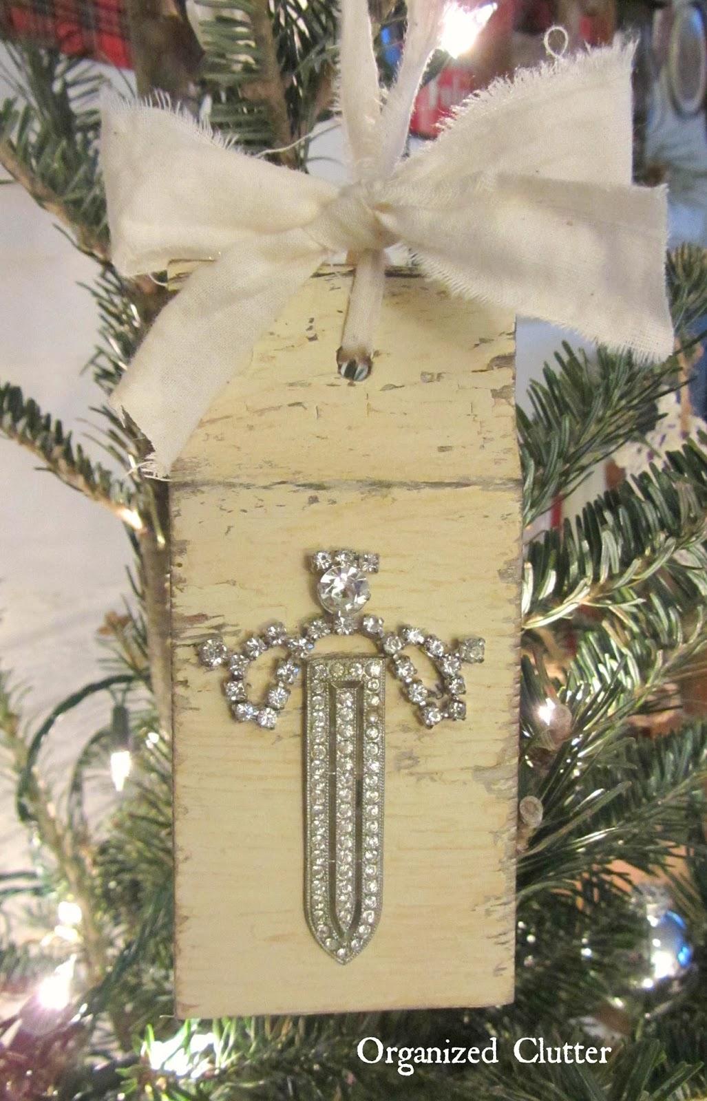 Vintage Jewelry & Salvaged Wood Angel Ornament www.organizedclutterqueen.blogspot.com
