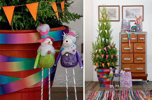 decoracao de arvore de natal simples e barata : decoracao de arvore de natal simples e barata: feita em casa e com bonecos de neve de pernas finas lindos
