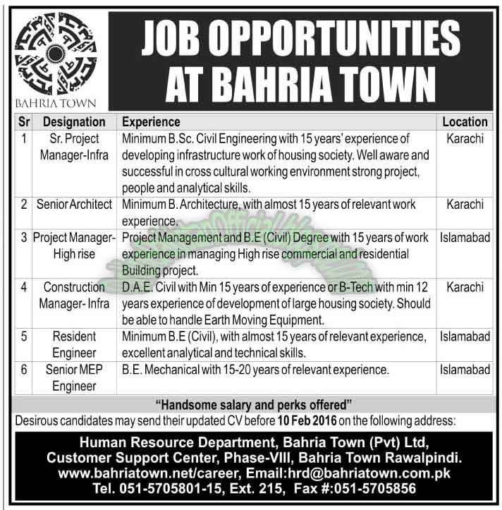 Bahria Town Pvt Ltd Rawalpindi jobs 2016
