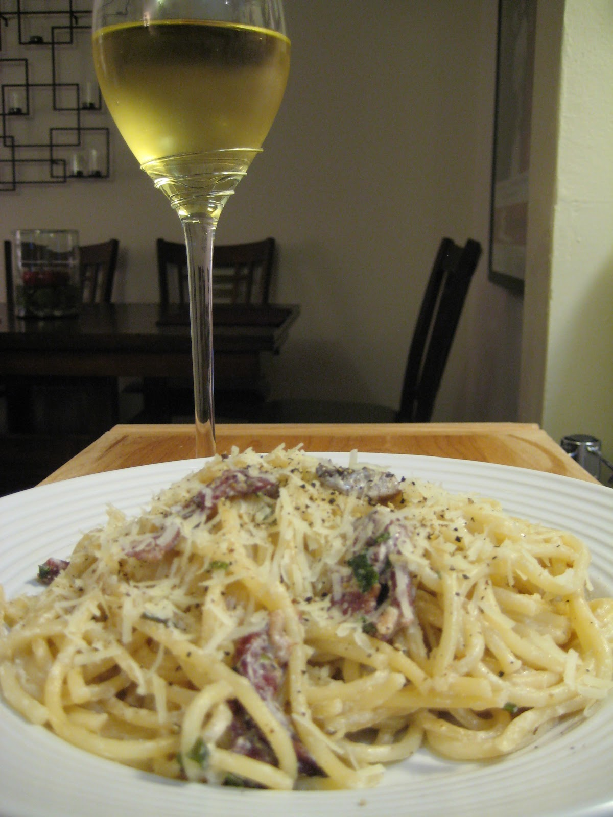 White Wine Spaghetti With Bacon And Parmesan Recipe — Dishmaps
