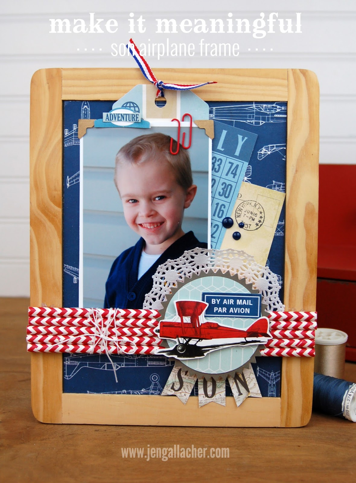 Make It Meaningful Airplane and Paper Straw Frame by Jen Gallacher at www.jengallacher.com