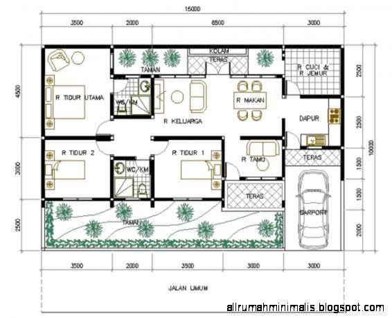 Denah Rumah Minimalis 1 Lantai 3 Kamar Tidur  Garasi