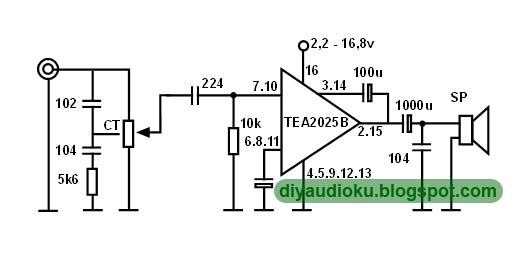 diy audio elektronika  rangkaian power amplifier tea2025b