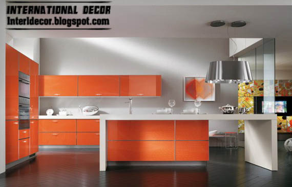 Contemporary Orange Kitchen Cabinets Designs 2015