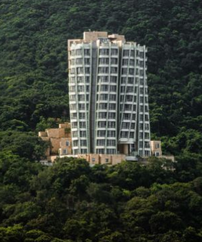 photo of exterior of opus hong kong building apartment by frank gehry