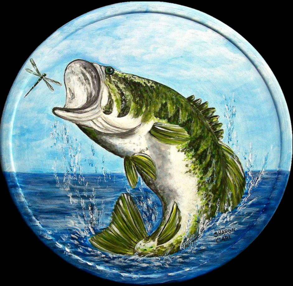 Largemouth bass jumping painting amazing wallpapers for Bass fish painting