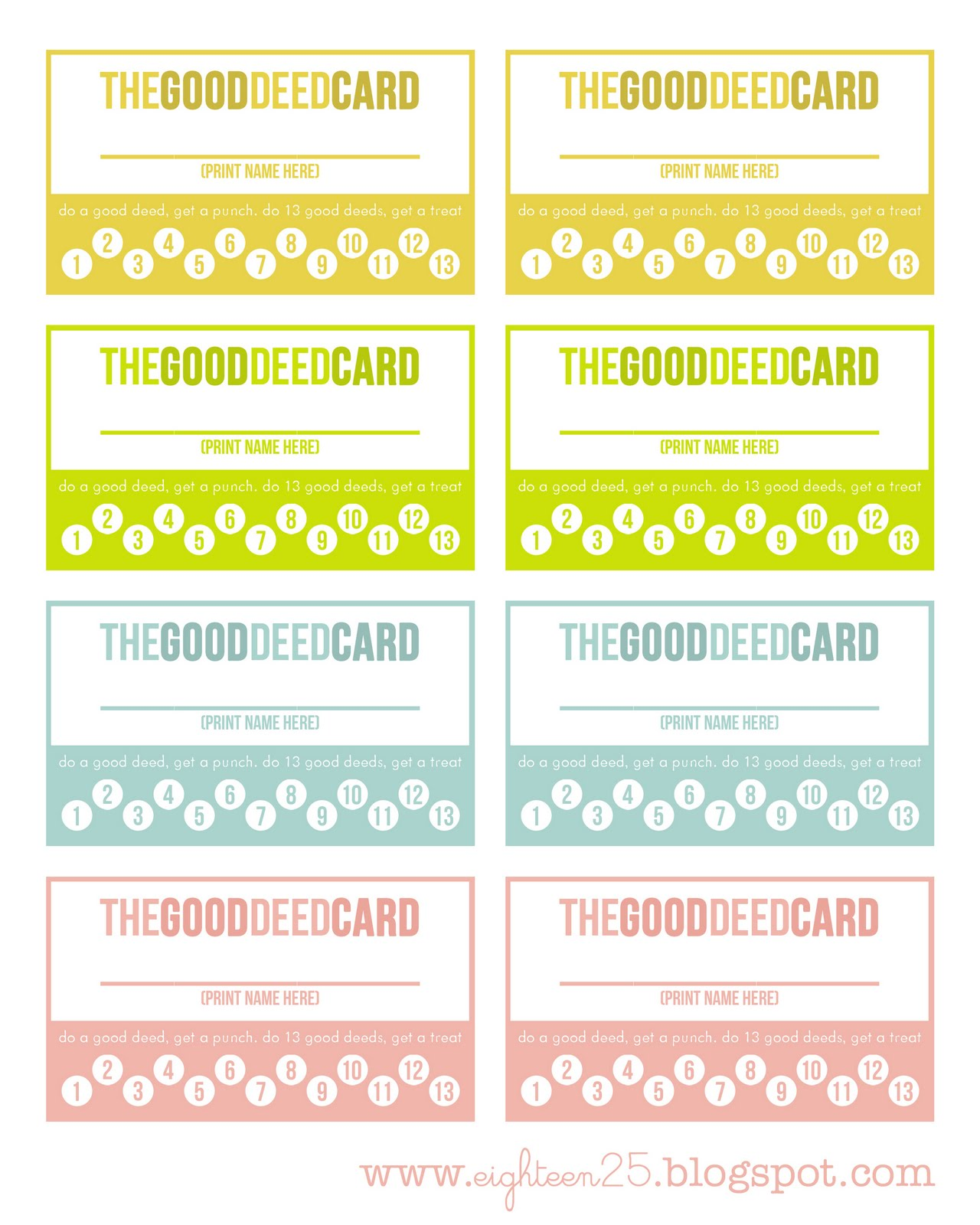 Shaped by grace good deed cards for Free punch card template