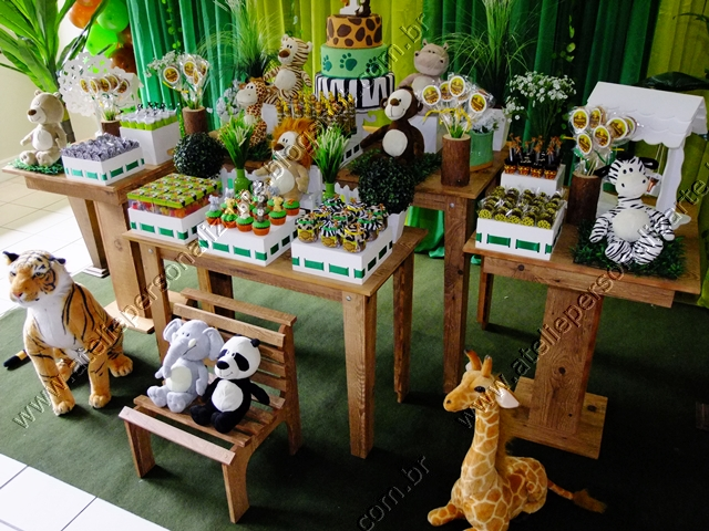 Decoraç u00e3o Safári Floresta Selva Porto Alegre Provençal Rústico -> Decoração Festa Infantil Zoologico