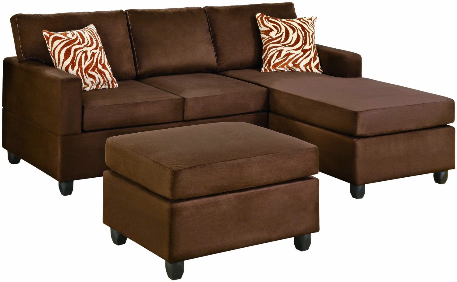 Couch with chaise for Brown microfiber chaise lounge