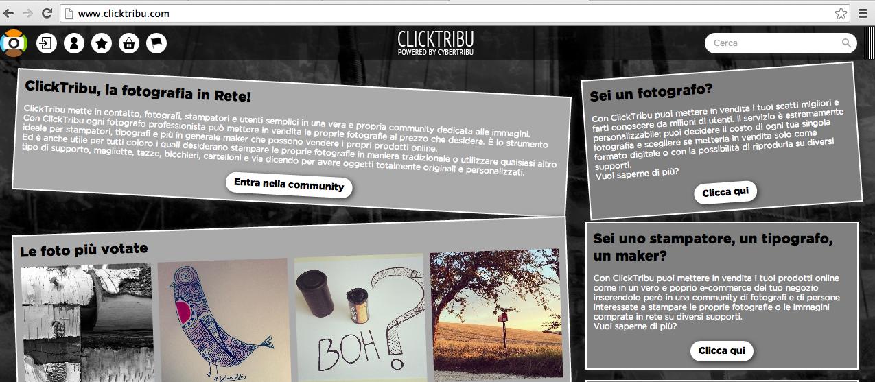 ClickTribu, fotografia, vendita fotografia, CyberTribu, stampatori, stampare foto