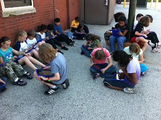 5th grade Students working outdoors with iPad devices
