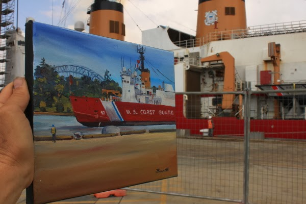 "plein air painting of  icebreaker U.S. Coastguard Cutter ""Polar Star""  at Garden Island by artist Jane Bennett"