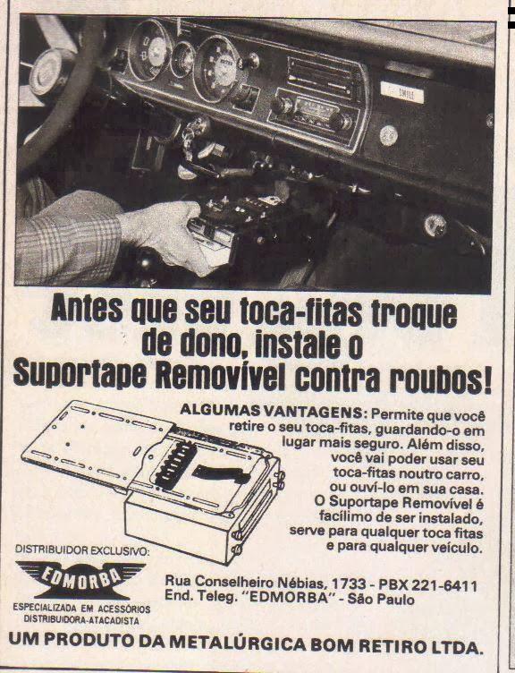 Propaganda do suporte removível para toca fitas dos anos 70
