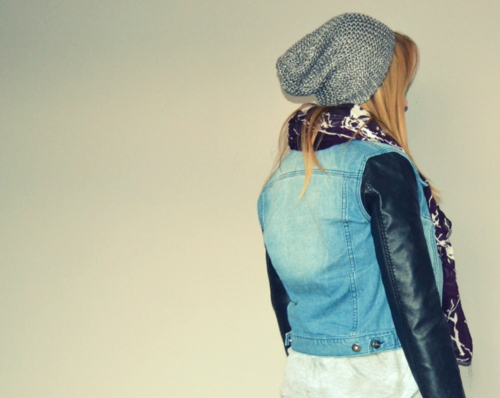 denim-jacket-leather-sleeves-silver-beanie