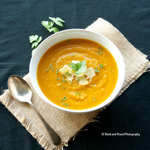 Roasted Pumpkin Soup with Aged Cheddar