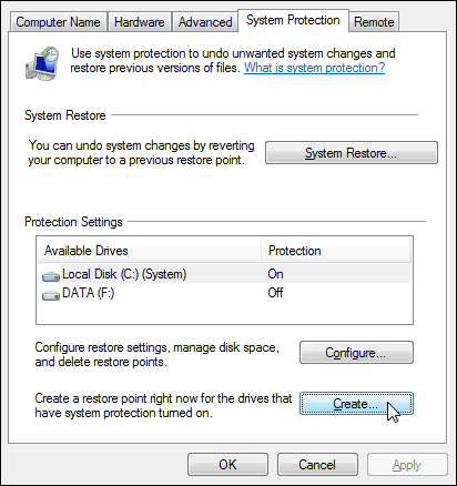 windows 7 system protection tab