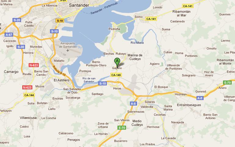 II Concentración de vehículos clásicos y antiguos Virgen de las Nieves [Cantabria] Mapa+situaci%C3%B3n+Gajano