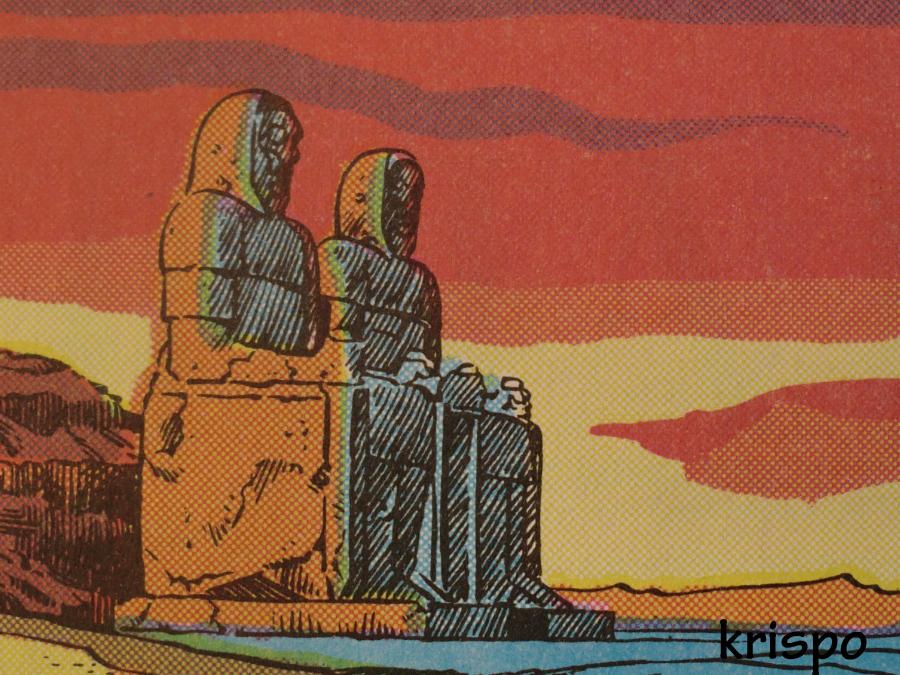 dibujo de estatuas y paisaje